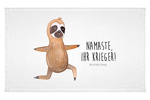 Mr. & Mrs. Panda Gäste Handtuch Faultier Yoga – 100% handmade in Norddeutschland – Faultier, Faultiere, faul, Lieblingstier, Yoga, Namaste, Krieger, Yogaübungen Gästehandtuch, Handtuch, Handtücher