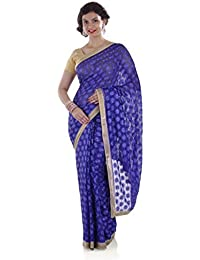 Ethnic Bliss Lifestyles Chiffon Saree (3U-Riu1-Qurb_Dark Blue)