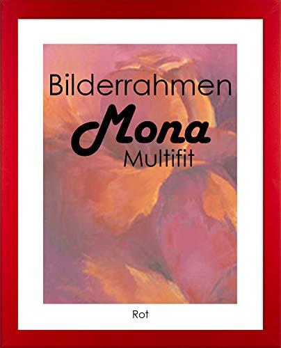 Preisvergleich Produktbild Homedeco-24 Bilderrahmen Mona MULTIFIT 40 x 50 cm Farbe Rot mit weißer Rückwand und extra starkem 2mm Antireflex Acrylglas