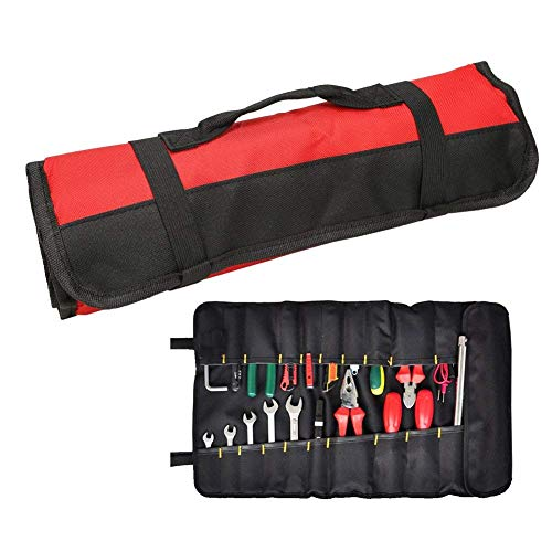 Wrench Roll Up Beutel Red Coiling Block Tasche Rolling Organizer Carrier Box Große Tote Carrier Socket Tray Mit 38 Taschen Steckdosen und Griff (Color : Black, Size : M)