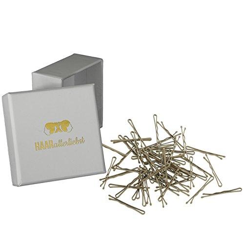 HAARallerliebst 50 Mini Haarklammern Haarnadeln Bobby Pins kurz beige für Blonde Haare 3,4cm klein in Weisser Box