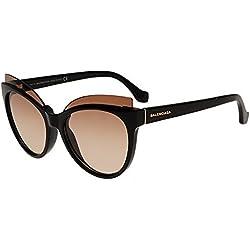 Balenciaga - BA0094, Schmetterling, injektiert, Damenbrillen, SHINY BLACK/BROWN(01G), 57/18/140