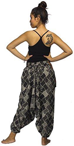 Lofbaz Damen Hmong Baumwolle Bedruckte Triangle Harem Hosen Design #4 Mix Print Schwarz