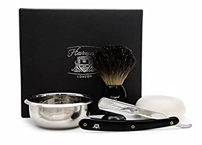 4 Pieces Men's Grooming Kit. The Kit Includes Black Badger Hair Shaving Brush, Shavette Razor( NO BLADES INCLUDED), Stainless Steel Bowl & Free Soap. Perfect Gift For Men's This Christmas .Special Edition. from Haryali London