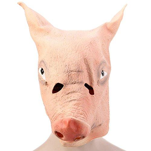 Fjiujin,Latex-Schweinsleder-Masken für Halloween-Maskerade-Partys(Color:Yellowish ROSA) (Halloween Or Bedeutung Von An Treat Trick)