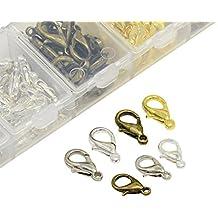 nbeads 1caja de 140piezas aleación de cinc cierre de pinza de langosta libre de níquel para fabricación de joyería, Mixed Color
