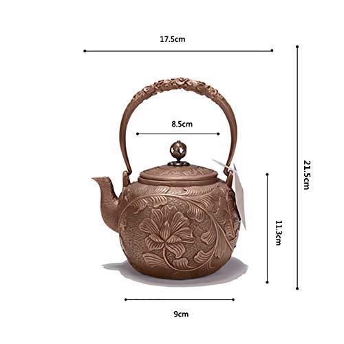 Mfun-CH Japanischer Stil Reine Hand Gegossene Kupfer-Teekanne Ungestrichene Dicke Teekanne, Vintage Collectibles, 1,2 L