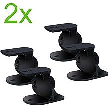Incutex 4 piezas (2 pares) soportes de pared universales para altavoces p. ej. Teufel, Bose, Yamaha, Bosten etc, negro