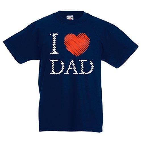 Kinder T-Shirt Ich Liebe Mein Vati - Vatertagsgeschenk (12-13 Years Dunkelblau Mehrfarben)