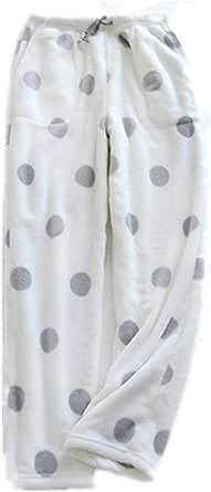 Bienwwow - Pantaloni da donna in flanella addensata per autunno e inverno, pigiami per la casa sciolti di grandi dimensioni dritti in pile corallo piatto