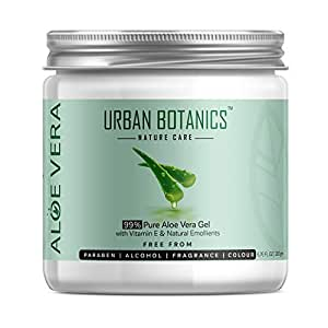 UrbanBotanics 99% Pure Aloe Vera Skin/Hair Gel With Vitamin E & Natural Emollients (Paraben Free), 200g