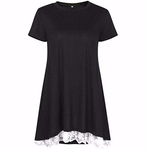Manadlian T-Shirt,Femmes Dentelle Manches Courtes Chemise Pull Tops Blouse Casual Noir