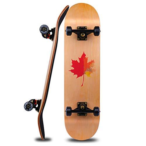 GXY Skateboard vierrädriger Roller Doppel Rocker Road Use Board Erwachsene Kinder Unisex Skateboard Rad Roller Ahorn 80 * 20 Braun (Color : Brown, Size : 80 * 20 * 15CM) (Roller Board Rocker)