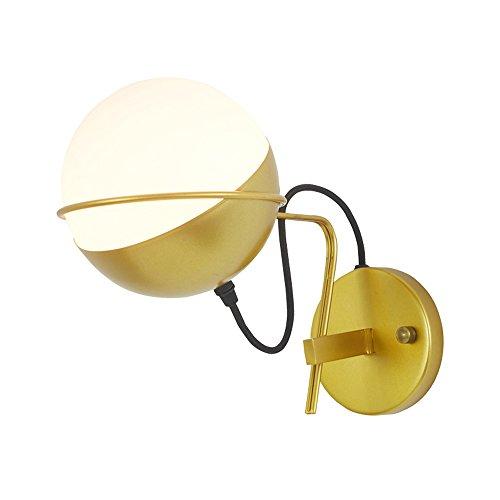 Nordic Eisen Wandlampen, American Adjustable Runde LED Gold Glas Wand Hängelampe Moderne minimalistische Wohnzimmer Cafe Korridor Wandleuchte Postmodern Schlafzimmer Studie Esszimmer Wandleuchte