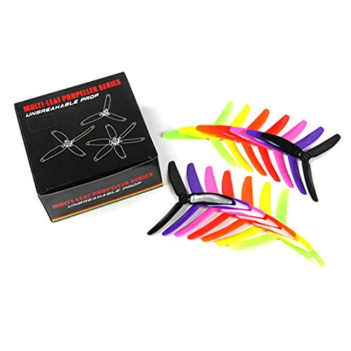 Laurelmartina 7 Pair Kingkong / LDARC 5X4X3 5040 5 3-Blade Rainbow Colorful Blade Propeller CW CCW for RC Drone FPV Racing Spare Parts