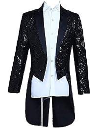 Smoking da Uomo Tuxedo da Uomo Slim da Fit Abbigliamento Giacca Uomo  Stampata A Fantasia da Uomo Vestito da Cerimonia da Notte Giacche… bc3192646d1
