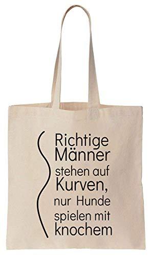 Finest Prints Richtige Männer Stehen Auf Kurven, Nur Hunde Spielen Mit Knochen Cotton Canvas Tote Bag -