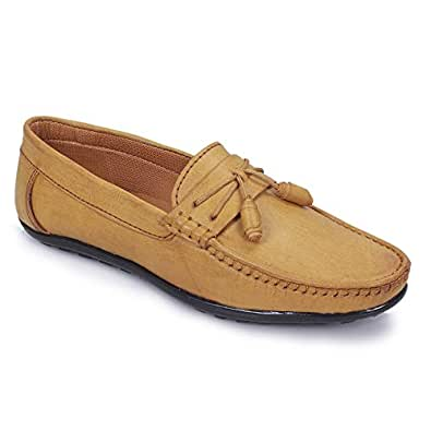 POLLACHIEF Synthetic Beige Casual Slip On Loafer/Mocassins Shoes for Men's