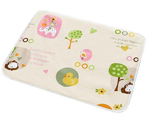 Happy Cherry Baby Unterlage Wickelunterlage Baumwolle Wasserdichte Matte Urin Pad Abdeckung Waschbar Wickelauflage 60 x 75 cm - Beige (75% Abdeckung)