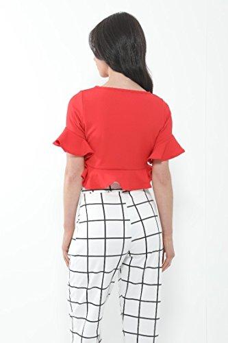 Momo&Ayat Fashions Camicia - Top - Maniche Corte - Donna Red