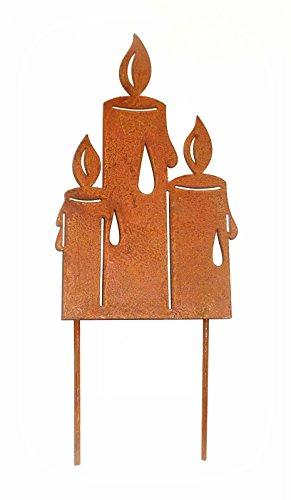 Dekostecker 'Kerzen' aus Metall mit Rostfinish 28 cm