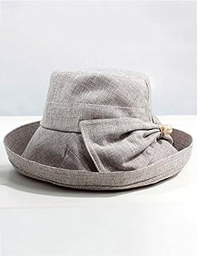 estate femminile cappello estivo fibbia di legno pieghevole cappello da sole Anti-UV grandi gronda Protezione...