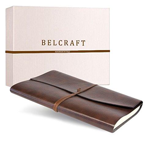 Tivoli Liscio A4 großes Notizbuch aus recyceltem Leder, Handgearbeitet in klassischem Italienischem Stil, Geschenkschachtel inklusive, Tagebuch A4 (21x30 cm) Braun