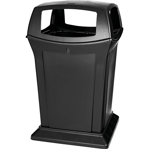 l 45gal Square Ranger Trash Can with 4 Openings - Black ()