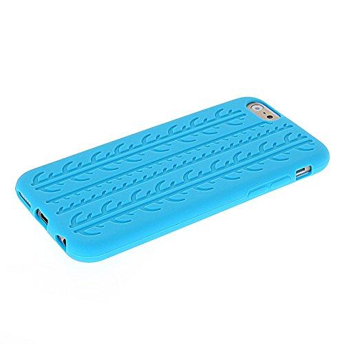 MOONCASE TPU Silicone Housse Coque Etui Gel Case Cover Pour Apple iPhone 6 Blanc Light Bleu 03