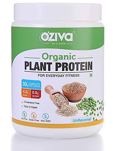 OZiva Organic Plant Protein, 500g, Unflavored (30g Protein, Organic Pea Protein Isolate + Organic Brown Rice Protein, Soy Free)