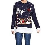 Mymixtrendz. Männer Weihnachten Neuheit Gestrickte Rentier Zu Der Kneipe Weihnachten Pullover Pullover Top S-2XL (Medium, Pub pom Navy)