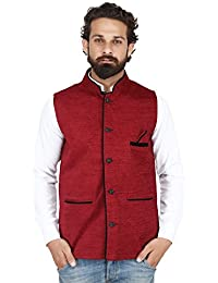 Akaas_Men's Cotton Blend Nehru and Modi Maroon Jacket Ethnic Style For Party Wear
