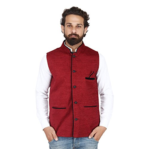 Akaas Men's Cotton Blend Nehru and Modi Maroon Jacket Ethnic Style For...