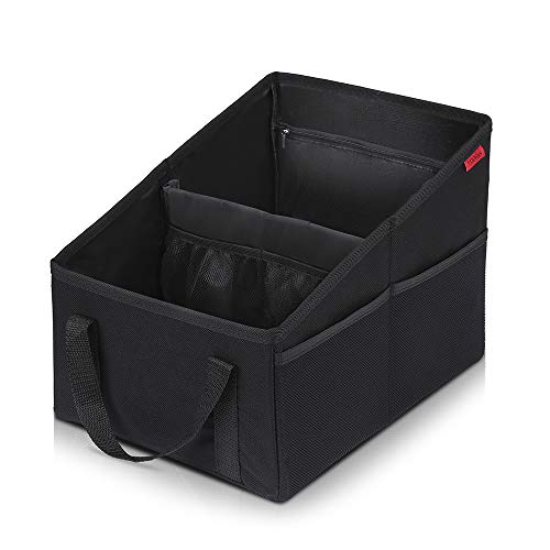Autositz Organizer für Vorder- und Rücksitz, Sitzaufbewahrungstasche für Erwachsene und Kinder, mit Becherhaltern, Gurtbefestigung und Staufächern für Spielzeug, Bücher, Snacks und andere Utensilien. -