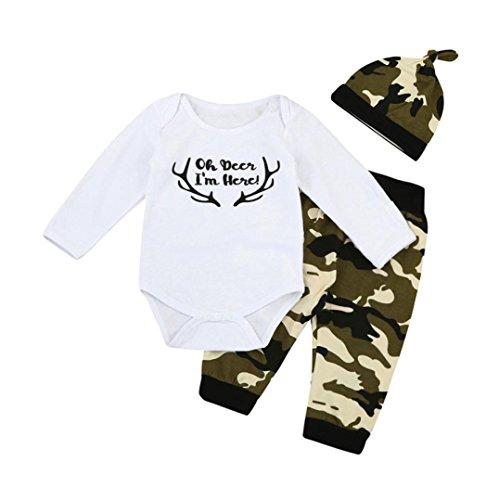 Hirolan 3 Stück Kleinkind Säugling Baby Junge Mädchen Brief Kleider Set Spielanzug + Hose + Hut Outfits (70cm, (Kostüm 70's Roller Disco)