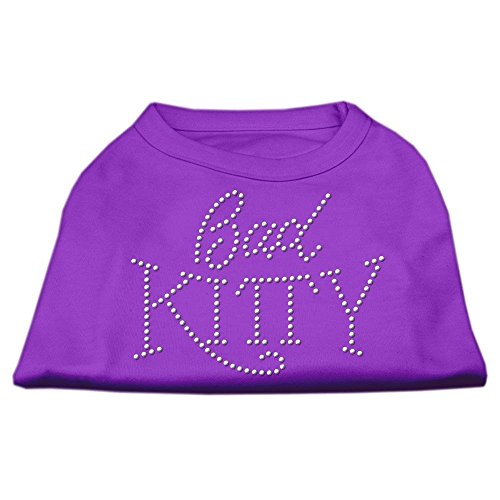 Mirage Pet Products 25,4 cm Bad Kitty Rhinestud Print Shirt für Haustiere, klein, violett -