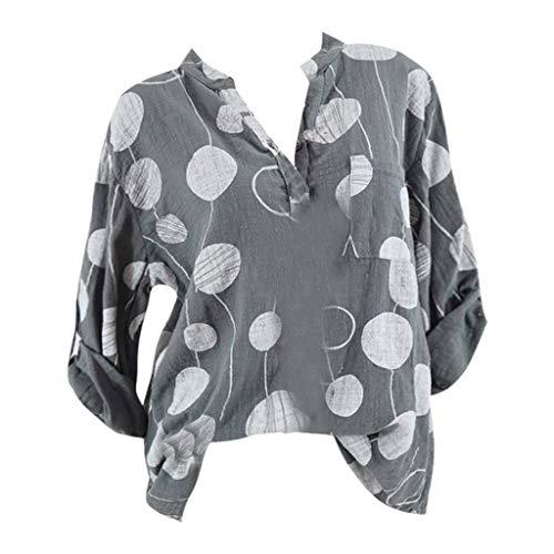 Linkay T Shirt Damen Langarm Bluse Tops Punktdruck Oberteile Mode 2019 (Grau, XXX-Large) (Street Mime Kostüm)