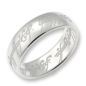 Lord of the Rings Sterling Silver The one Ring - Size L 1/2