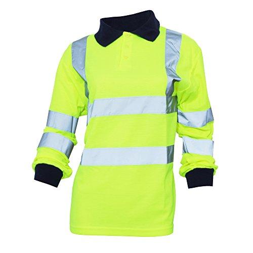 Yoko - Polo/Camisa de Seguridad de Manga Larga de Alta Visibilidad (Tallas Grandes hasta 6XL) para Mujer señora - Trabajar/Reflectante (3XL/Amarillo Fluorescente)