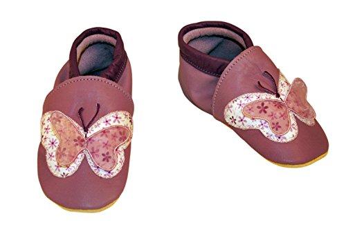 Three Little Imps Handgemachte weiche Kleinkind-Schuhe aus Leder Ð Wunderschšner lila Schmetterling 12 - 18m (BFL) lila