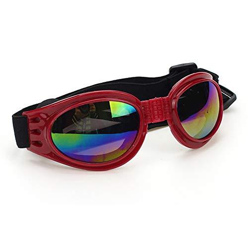 ZDJR Haustier Brillen Dog Sonnenbrille Faldable UV Protection Eye Wear Fashion Toys Sonnenbrillen mit Adjustable Strap für kleine bis mittlere Dog Cat und Pet Lover,Red