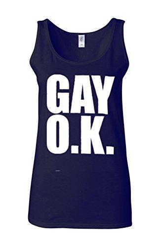 GAY O.K. LGBTI Lesbian Funny Novelty White Femme Women Tricot de Corps Tank Top Vest Bleu Foncé