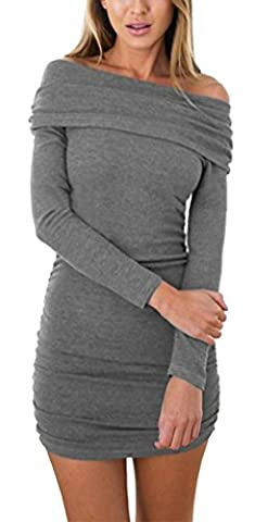 Longwu Women's Sexy Off Shoulder Long Sleeve Bodycon Knitted Stretchy Sweater Short Slim Dress Grey-S