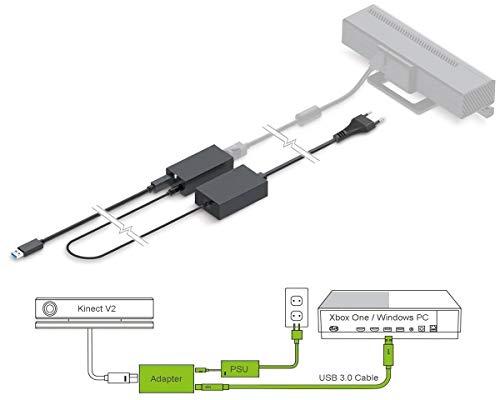 PeakLead [Aktualisierte Edition] Kinect Sensor Adapter, USB 3.0-Adapter zur Verbindung des Kinect V2-Sensorleiste Bar mit Xbox One S, Xbox One X und Windows 8, 8.1, 10 PC, EU-Netzteil