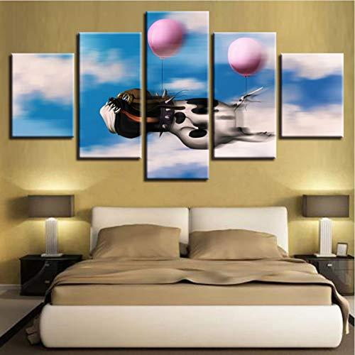 Ysain Leinwand Bild Hd Drucke Poster Modulare Wohnzimmer Leinwandbilder 5 Stücke Cartoon Tier Hund Ballon Gemälde Home Wandkunst Dekor Rahmen-40Cmx60/80/100Cm-Frame