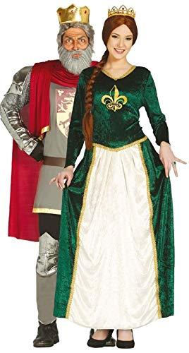 König Löwenherz Richard Kostüm - Paar Herren & Damen mittelalterlich King & Queen historisch Löwenherz Richard Fiona büchertag Kostüm Verkleidung Outfit - Mehrfarbig, Ladies UK 16-18 & Mens Large