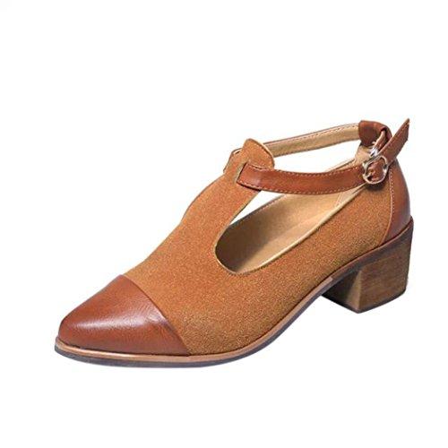Amlaiworld Vintage Sandalen Damen Spitze Ferse schneiden Patchwork Wölbung High Heels Wedges Schuhe (Braun, 37) (Silber-ferse Schuhe)