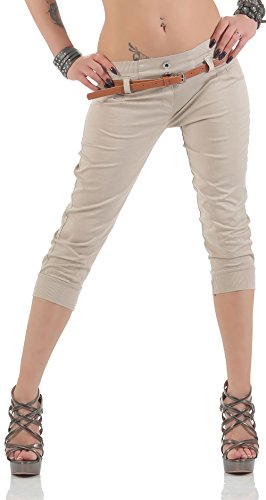 malito Damen Capri Hose mit Gürtel | Chino Hose mit Stretch | lässige Stoffhose | Skinny – elegant 5398 (beige, S) (Capri-stretch-hose)
