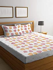Boutique Bedding Queen Size Cotton 220TC Bedsheet with 2 Pillow Covers Leaves Pattern (Pink and Musturd, 235x2