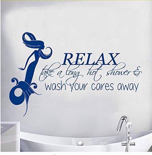 Ljtao Meerjungfrau Wandtattoo Zitat Entspannen Sie Sich Eine Lange Heiße Dusche Vinyl Aufkleber Mädchen Badezimmer Dekor